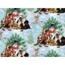 Fat Quarter - Cotton by SPX Fabrics - Puppies Christmas Scenes