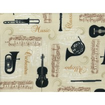 Cotton by Stof - Musical Instruments - Ivory
