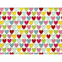 Fat Quarter - Cotton by Stof - Multi Coloured Lovehearts