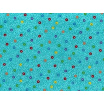 Fat Quarter - Cotton by Stof - Multicoloured Circles on Teal