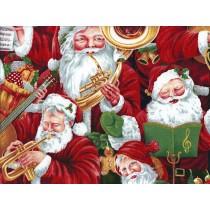 Fat Quarter - Cotton by Nutex - Musical Christmas - Santa Claus