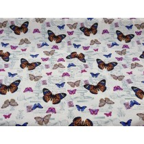 Cotton Canvas - Vintage Butterflies - Cream