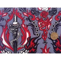 Cotton Poplin - Flaming Skulls And Roses Floral With Swords  - Grey