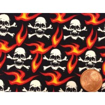 Cotton Poplin - Gothic Skull and Flames - Black