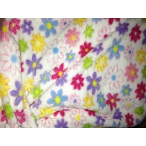 Minky Cuddle Fleece - Flowers - White