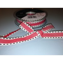 Vintage Stitch Ribbon - Red/Black