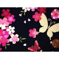 Cotton Poplin - Butterflies & Flowers - Navy