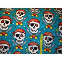 Antipil Fleece - Skull Pirate Turquoise