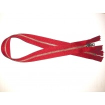 Metal Zip Fastener - Red - 18""