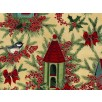 Fat Quarter - Cotton by Hoffman Fabrics - Birds and Winter Berries
