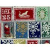 Fat Quarter - Cotton by Hoffman - Christmas Postal Stamps